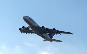Lufthansa Airbus A380 taking Off from Houston-Intercontinental