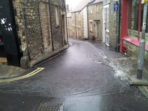 A Wet street at the top of St. Catherine Hill in Frome